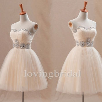 Short Champagne Shinning Crystal Bridesmaid Dresses Formal Party Evening Dresses Prom Dresses Formal Occasions