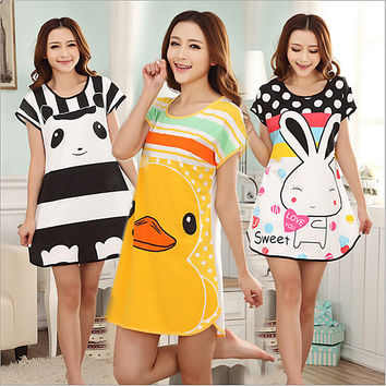 Hot sales! Girls Thin Long Sleepshirts Spring Summer Nightdress Cartoon Animal Sleep Dress Women Cotton Nightgown Sleepwear H067