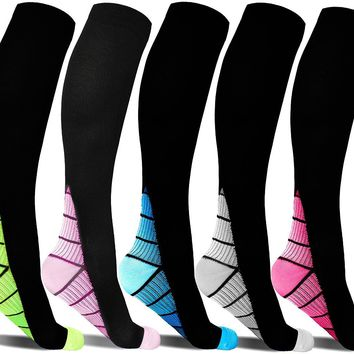 1 Pair or 5 Pairs Unisex Running Sports Compression Socks For Women & Men, Best Medical Fit for Nursing, Shin splint, Travel, Hiking, Maternity & Pregnancy, Fitness