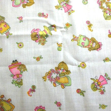 1970s Fabric Childrens Juvenile Novelty Print Fabric girls in garden flowers