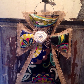 Small Colorful Medallion Burlap Cross