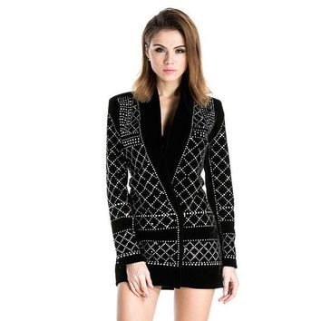 CREYL Free Shipping Missord 2015 Sexy V-neck long-sleeved geometric studded blazer dress FT3612 Rhinestone