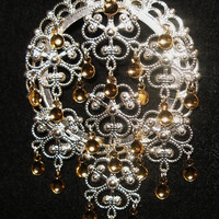 Linnea - Lovely Traditional Norwegian Solje Style Silver Plated Filigree Bunad Brooch Pin with Gold Drops