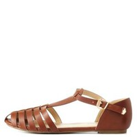 Tan Strappy T-Strap Flats by Charlotte Russe