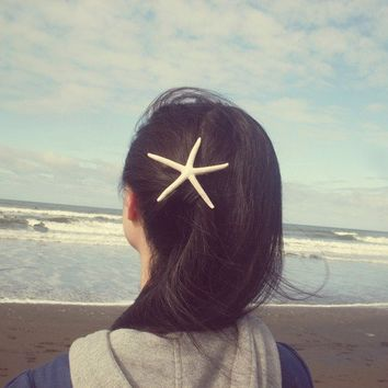 Natural White Finger Starfish Barrette  Large  by dreamsbythesea
