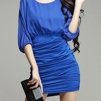 Blue Batwing Sleeves Ruched Mini Dress