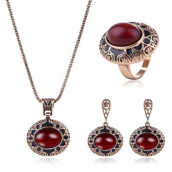 Red Faux Ruby Engraved Floral Jewelry Set