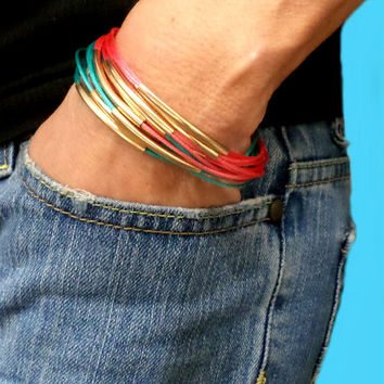 Gold Curved Bar Coral & Turquoise Multi-strand Faux Snake Skin Leather Magnetic Clasp Bracelet Cuff, Gift