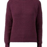 Dark Purple Bobble Stitch Zip Back Jumper