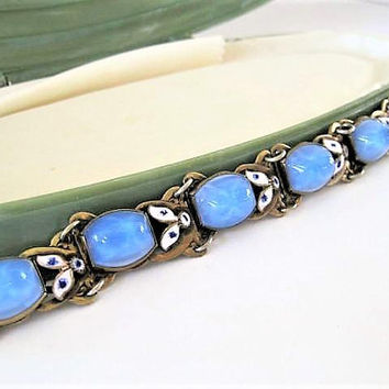 Czech Art Glass Bracelet, Blue Glass, Neiger Bros, Enamel Art Deco Links