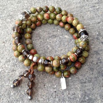Positivity and Grounding, Unakite and Smokey Quartz 108 Bead Wrap Bracelet Or Necklace