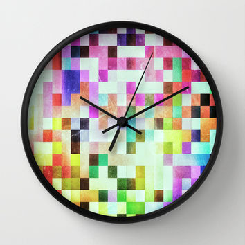 GROWN UP PIXELS Wall Clock by Chrisb Marquez