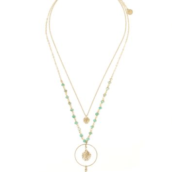 Eclipse Amazonite Leaf Statement Necklace