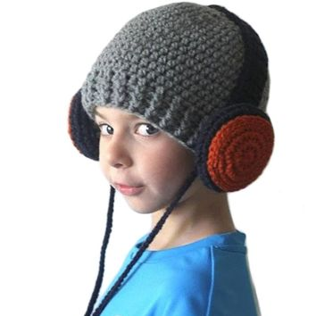 Wool Knitted Warm Hats For Kids 2017 Baby Boys Winter Caps Crochet Beanies Hip Hop Headphone Children's Hats Skullies Bonnet