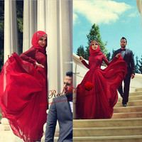 Lace and Chiffon Long Sleeve Burgundy Prom Dresses Long Arabic Muslim Evening Dress with Hijab Lace and Bow