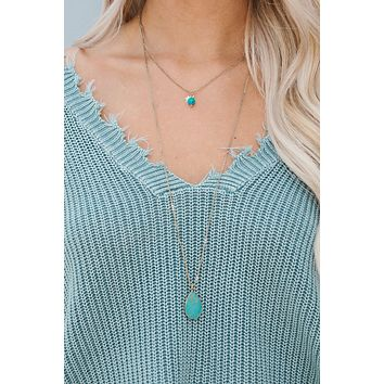 In Tiers Layered Necklace (Turquoise)