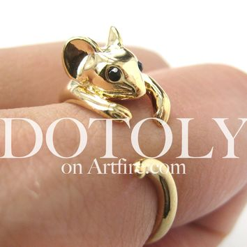 Miniature Mouse Animal Hug Wrap Ring in SHINY Gold in Sizes 4 to 9