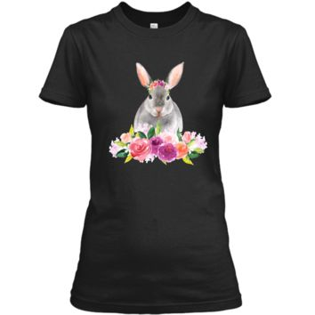 Easter Bunny T-Shirt with Watercolor Flowers Womens Girls Ladies Custom