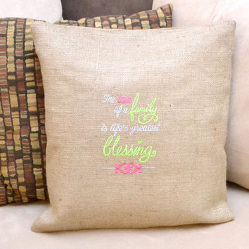 Love of Family is Life's Greatest Blessing Cushion Cover- Pillow Cover-Wedding Gift - Engagements - Personalized - Mother's Day Gift