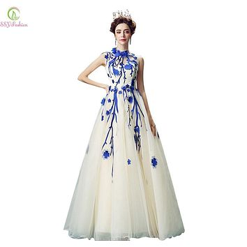 Vestidos 2017 SSYFashion Blue with White Flower Long Prom Dress Bride Married Banquet Sweet High Neck Sleeveless Evening Dress
