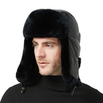 46f3b6684de70 37 Sheep Leather Rabbit Fur Aviator Russian Ushanka Ear Flap Win