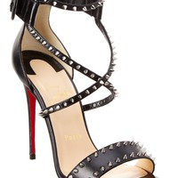 Christian Louboutin Choka Spikes 100 Leather Sandal, 35.5, Black