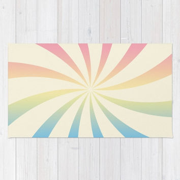 Pastel Swirl Pink Orange Yellow Green Blue Area Rug  Sunburst Retro Nursery Boy Girl Baby Room Apartment Modern Home Decor