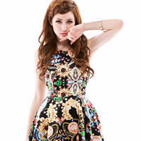 Jewelry Print Sleeveless Shirtwaist A-Line Mini Dress