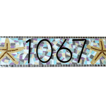 Outdoor House Number Sign with Starfish // Colorful Mosaic // Beach House Address Plaque