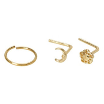 Steel Gold Sun & Moon Hoop & L-Shape Nose Bone 3 Pack