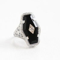 Vintage Art Deco Sterling Silver Simulated Onyx & Clear Rhinestone Ring - Antique 1920s Size 5 Filigree Flower Statement Jewelry
