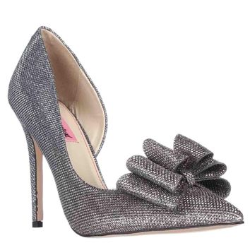 Betsey Johnson Prince Dorsay Bow Toe Pumps, Pewter, 7.5 US