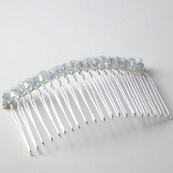 Hair Comb White Lilac Crystals  - Pale Purple & White Aurora Borealis Crystal Silver Hair Accessory Flowergirl Wedding Bridesmaid