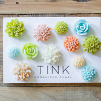 Pretty Decorative Flower Magnets - Set of 12 - Bodega: Green/Blue/Coral/Neutrals