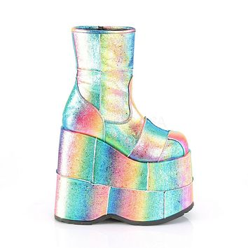 "Stack 201 Rainbow Hologram 7"" Stacked Platform Ankle Boots"