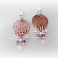 Orchid Swarovski Crystal Chandelier Earrings, Hand Forged and Hammered #Accessories #Earrings #Purple #Copper