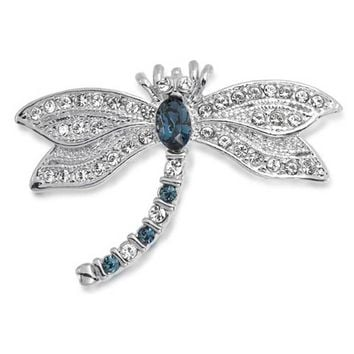 Dragonfly Brooch Pin For Women Blue Sapphire CZ Cubic Zirconia