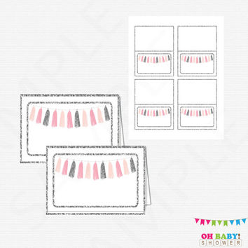 Pink and Silver Baby Shower, Food Labels, Tent Cards, Place Cards, Printable Baby Shower Decor, Pink and Silver Tassels, Download, TASPS