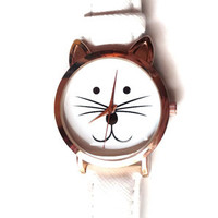 Ladies 35mm Cat Watch - White/Rose Gold - CLEARANCE