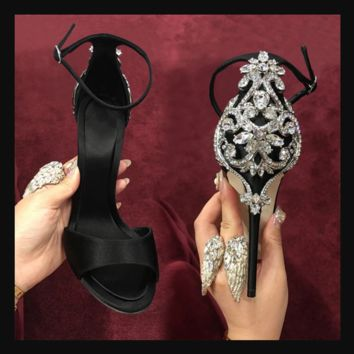 Hot style hot sale after the package of large diamond high-heel women's sandals