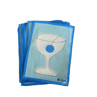 Vintage Cocktail Napkins Linen Light Blue Martini Glass Print - by Vera - Set of 6 with Original Box - Entertaining and Dining