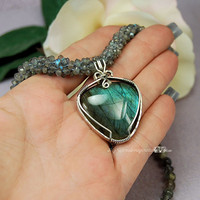 Mesmerizing Labradorite Pendant and Necklace Wire Wrapped Kumihimo Sterling Silver