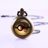 Pokemon Ball Pocket Watch ,Cute Watch Necklace , Women Vintage Watch ,inspired Dome Watch Necklace
