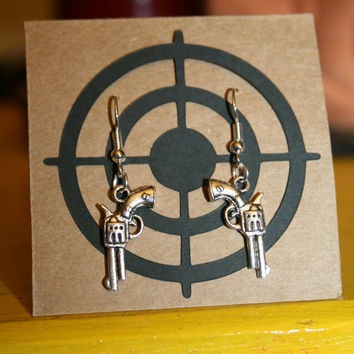Revolver Earrings - Redneck Chic, Pistol, Nickel-Free, Silver