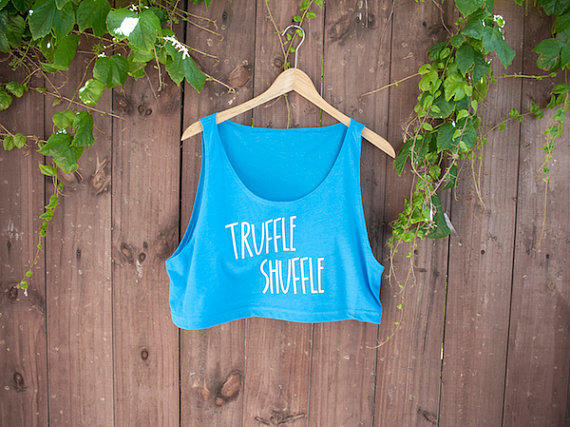 TRUFFLE SHUFFLE - Neon Heather Blue Crop Tank - American Apparel - One Size - Goonies