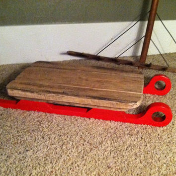 Winter Infant Photo Prop Barn Wood Sled with Red Runner's