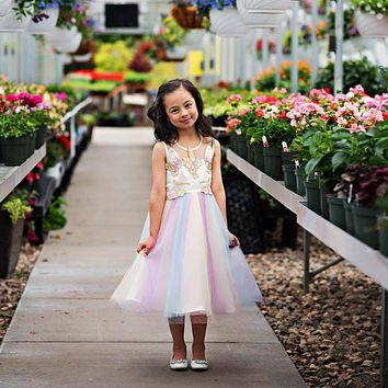 Unicorn Rainbow Tulle Skirt Dress
