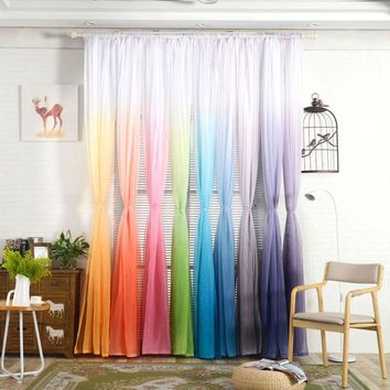 Tulle Curtains 3d Print Kitchen Decorations Window Treatments American Living Room Divider Sheer Voile curtain Single Panel