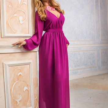 Сranberry Dress, Maxi Dress, long evening dress, Bridesmaids Dress, Formal dress, Evening Gowns, Special occasion womens dress, with sleeves