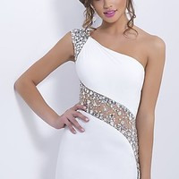 Short One Shoulder Beaded Cocktail Dress by Blush